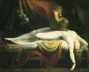 Johann Heinrich Füssli (1781) http://upload.wikimedia.org/wikipedia/commons/5/56/John_Henry_Fuseli_-_The_Nightmare.JPG